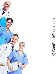 orvosi, csoport, orvos.