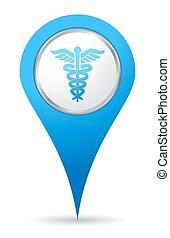 orvosi, elhelyezés, ikon