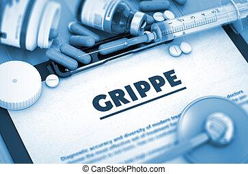 orvosi, grippe., concept.