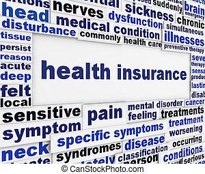 orvosi health, üzenet, háttér, biztosítás