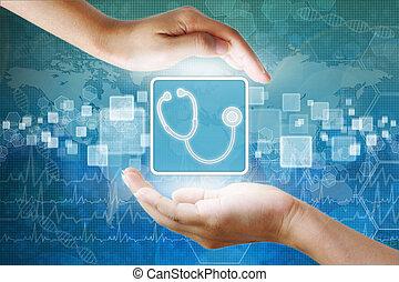 orvosi, ikon, recept, jelkép, alatt, kéz