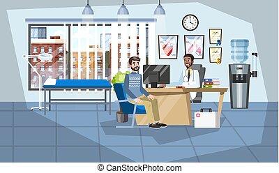 orvosi, konzultáció, türelmes, hivatal, orvos