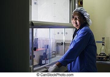 orvosi kutatás, középcsatár, nő, dolgozó, alatt, gyógyszerészeti, labor