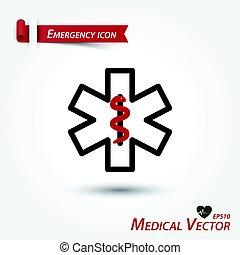 orvosi, vektor, szükséghelyzet, ikon