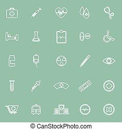 orvosi, zöld, egyenes, háttér, ikonok