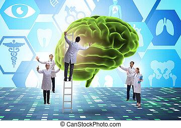 orvosok, befog, agyonüt, emberi, megvizsgál