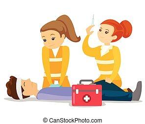 orvosok, cselekedet, cardiopulmonary, resuscitation.