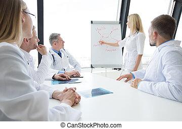 orvosok, egészség, elmebeli, megvitat, befog