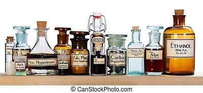 orvosság, különféle, hasonszenvi, palack, gyógyszertár