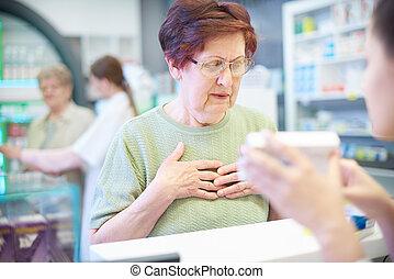 orvosság, kapott, idősebb ember, tanács, felnőtt