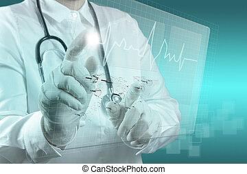 orvosság, modern, számítógép, dolgozó, orvos