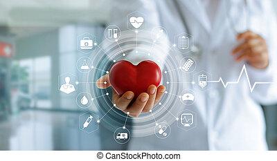 orvosság, orvos, birtok, piros szív, alakít, alatt, kéz, és, ikon, orvosi, hálózat, összeköttetés, noha, modern, tényleges, ellenző, határfelület, orvosi technology, hálózat, fogalom
