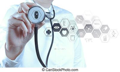 orvosság, orvos, kéz, dolgozó, noha, modern, számítógép, határfelület