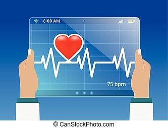 orvosság, orvos, lehallgatás, a, helyzet, közül, kardiogram