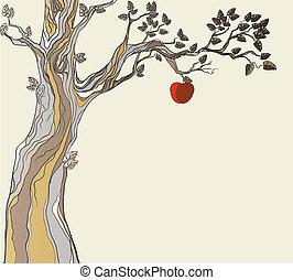 oryginał, sin., drzewo, z, apple.