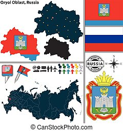 Oryol Oblast, Russia - Vector map of Oryol Oblast with coat ...