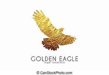 orzeł, eagle., złoty, logo, logo., ptak