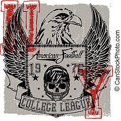 orzeł, graficzny, afisz, piłka nożna, trójnik, amerykanka, logo