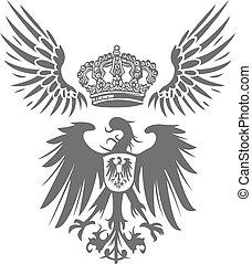 orzeł, korona, tarcza, skrzydło