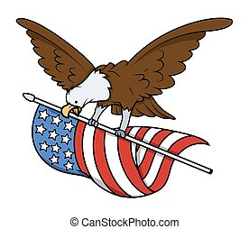 orzeł, lecący ptaszek, z, usa bandera