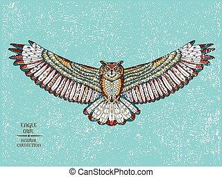 orzeł, rys, t-shirt., capstrzyk, owl., stylizowany, zentangle, albo