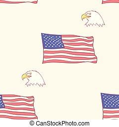orzeł, styl, usa, seamless, łysy, bandera modelują, ręka, amerykanka, wektor, tło, ilustracje, pociągnięty, maskotka, dachówka, ikona