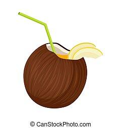 orzech kokosowy, cocktail., ilustracja, tło., wektor, biały