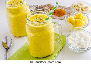 orzech kokosowy, nasienie, banan, chia, ananas, smoothies, kurkuma