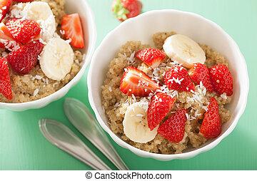 orzech kokosowy, quinoa, zdrowy, truskawka, łuski, śniadanie, banan