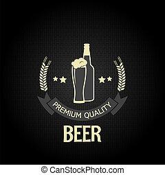 orzo, bottiglia, birra, disegno, vetro
