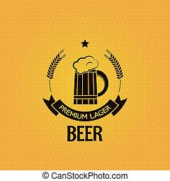 orzo, fondo, birra, disegno, tazza