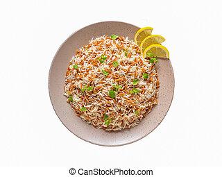 orzo, placa, turco, pilaf, aislado, arroz