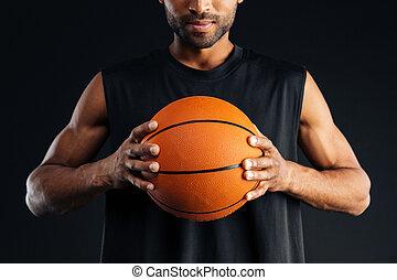 osázet, podoba, o, jeden, soustředěný, afričan, basketball player, sevření koule