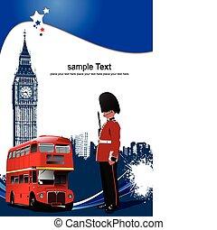osłona, dla, broszura, z, londyn, imag