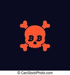 os, bitcoin, crâne, mort