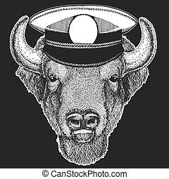 os, buffel, kleding, t-shirts., afdrukken, children., capitan, zeerover, kleuterschool, vector, bizon, ontwerp, animal., dapper, stier, geitjes, school, sailor.
