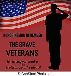 os hær, soldat, saluting, den, flag