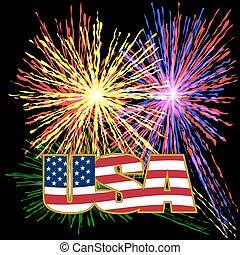 os, indskrift, stylized, flag, farver, ind, en, guld, ramme, på, en, baggrund, prazdnechnogo, fyrværkerier, på, uafhængighed, day.