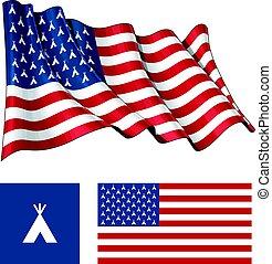 os, teepee, vink, og, lejlighed, flag