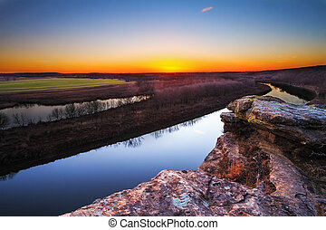 Osage River at Twilight - A view from a bluff on Monegaw...