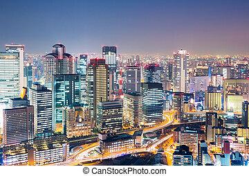 Osaka at dusk japan - Osaka skyline building at dusk, Japan