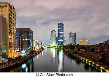 Osaka business park at night