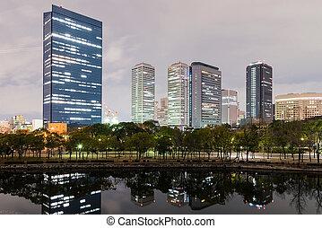 Osaka business park buildings at ngiht