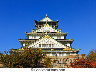 Osaka Castle and blue sky in Osaka, Japan