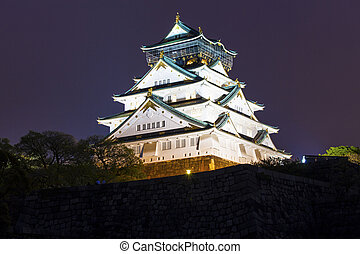 Osaka Castle at night, Japan.