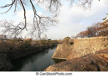 osaka castle in a clear fine day in winter