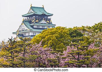 Osaka Castle in Japan under cherry blossom
