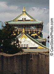 Osaka Castle is a Japanese castle Autumn season in Ch-ku, Osaka, Japan.
