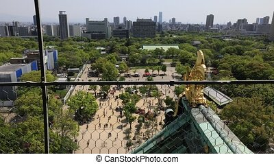 Osaka Castle skyline - Golden dragon fish statue or...
