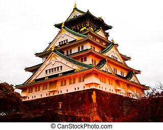 Osaka castle1 - Osaka castle in the evening